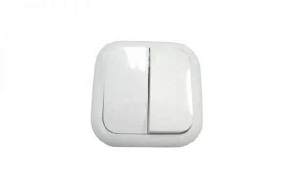Выключатель двойной закрытой проводки глянец закруглённый С56-006 в интернет магазине Импульс, фото