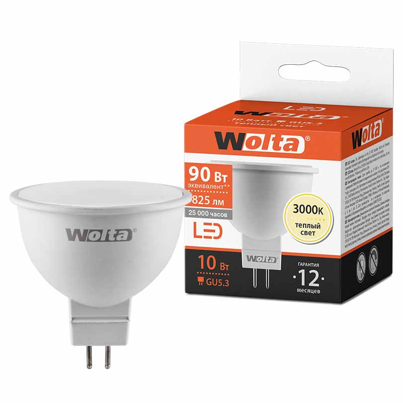 Лампочка LED 25YMR16-220-10GU5.3-P 10Вт 3000К ВАША ЛАМПА(WOLTA) в интернет магазине Импульс, фото