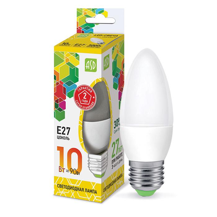 Лампочка LED 10Вт Е27 свеча 3000K 900Лм standart ASD в интернет магазине Импульс, фото