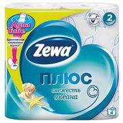 туалетная бумага ZEWA PLUS 2-х слойная Свежесть Океана Голубая (4шт)