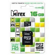 Память SD Micro 16Gb MIREX + SD adapter класс 10 в интернет магазине Импульс, фото