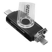 картридер GINZZU GR-325UB OTG/TYPE-C USB 2.0/+ кабель microUSB SD/microSD в интернет магазине Импульс, фото
