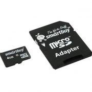Память SD Micro 4Gb Smart Buy + SD adapter  класс 4 в интернет магазине Импульс, фото