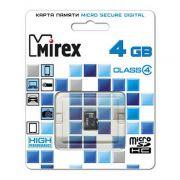 Память SD Micro 4Gb MIREX (+ adapter) класс 4 в интернет магазине Импульс, фото