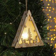Фигура светодиодная деревянная Ёлка и олени 13х11х3см,1LED,жёлт.(тёпл.бел.) 4364295 в интернет магазине Импульс, фото