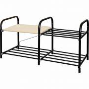 Этажерка Люкс-1 2-х яр. черный, сид. мягк. 360*330*800 ЭТЛ1/Ч в интернет магазине Импульс, фото